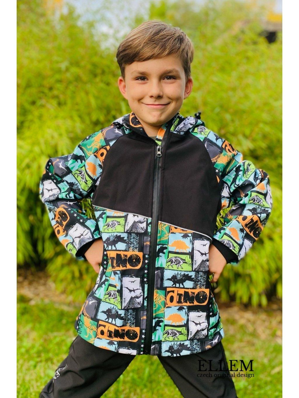 """alt=""""softshellový bunda pro kluka s dinosaury"""""""