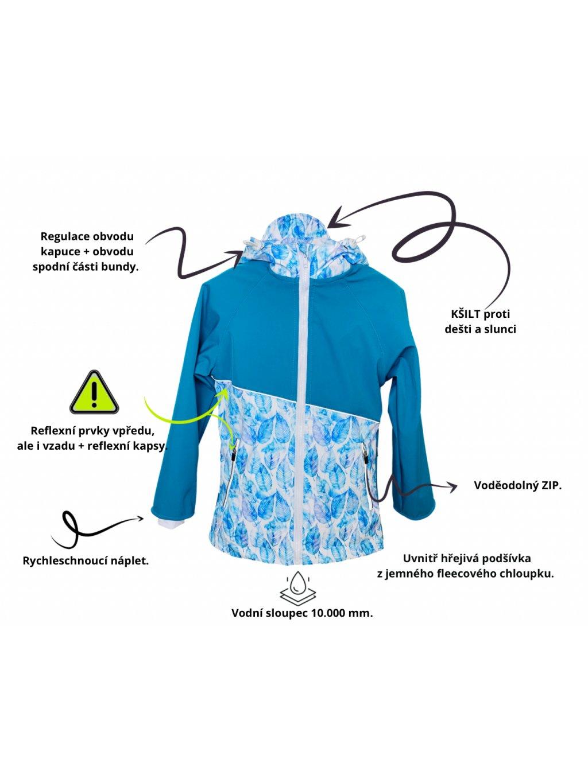 """alt=""""podzimní Softshellová dětská bunda s fleecem modro bílá"""""""