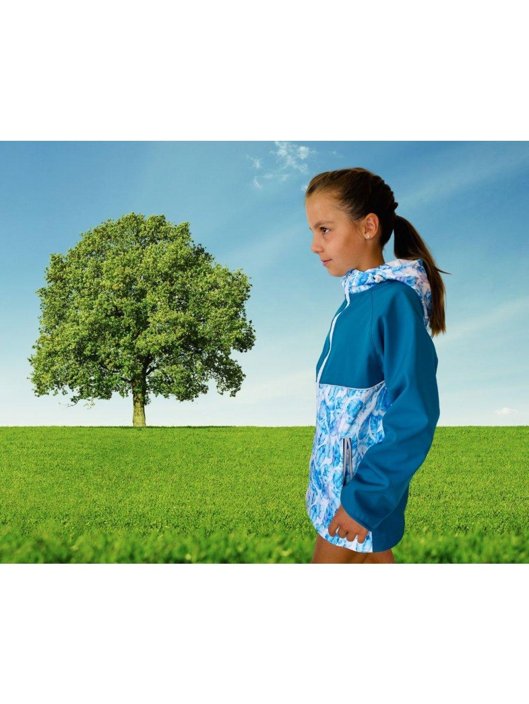 """alt=""""skica dívčí softshellové bundy petrolejově modré"""""""