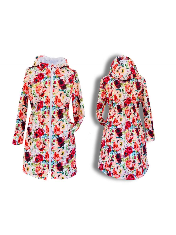 """alt=""""dámský kabát softshellový s fleecem podzimní s květy"""""""
