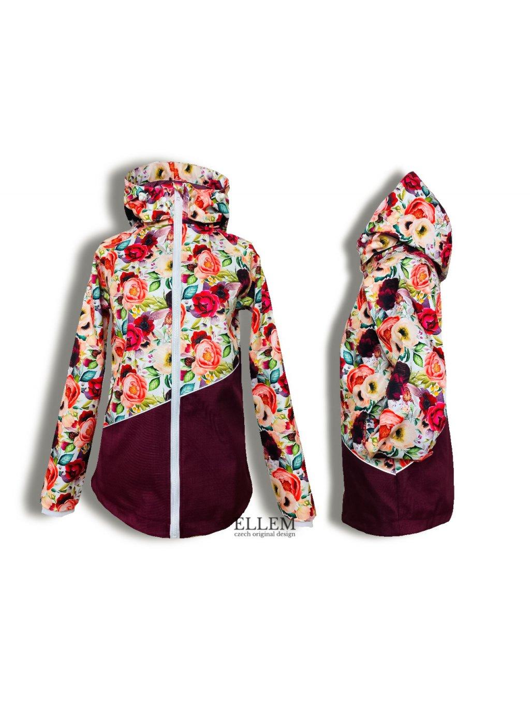"""Alt=""""dámský kabát jarní softshellový s podšívkou květovaný"""""""