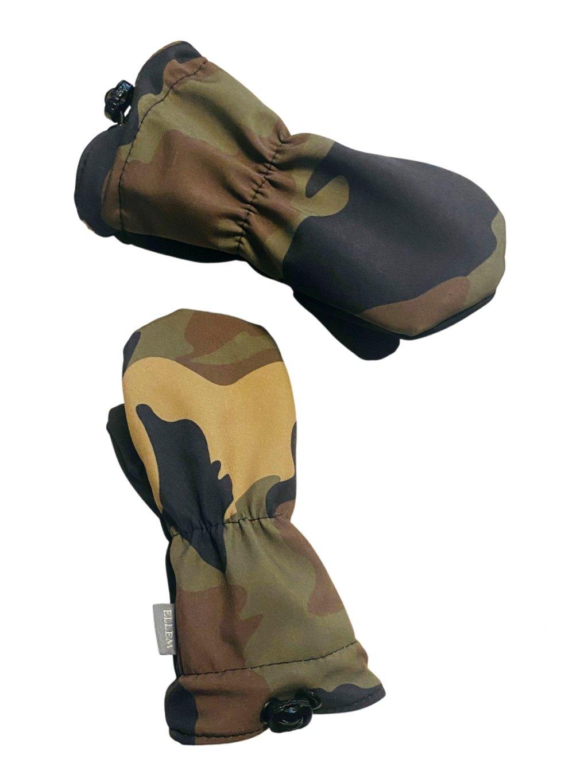 maskáčové softshellové rukavičky pro děti