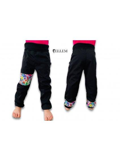alt=jarni dívčí Softshellové kalhoty, černé s kytičkami