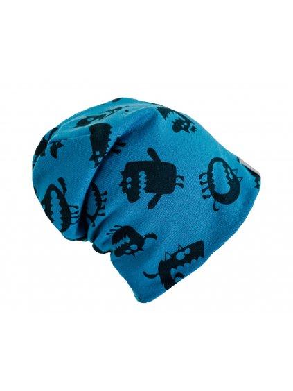 """alt=""""modrá dětská jarní čepice s příšerkami"""""""
