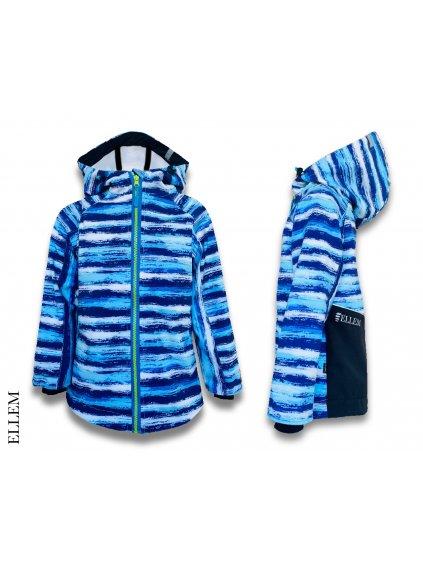 """alt=""""softshellová bunda pro děti modrá pruhovaná"""""""