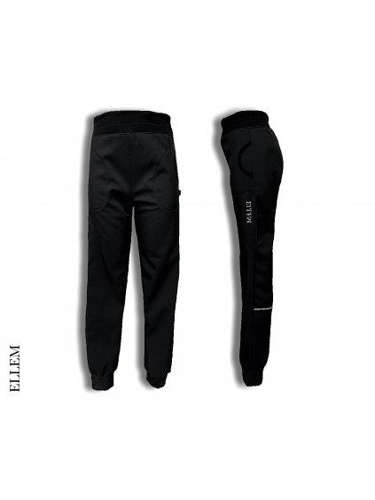 """alt=,,černé Softshellové kalhoty pro děti s nápletem v pase s reflexními prvky úzkého střihu pro hubené dítě"""""""
