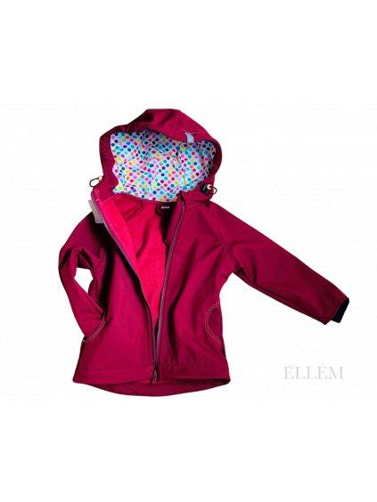 "alt=,,cervena softshellova bunda detska s puntík v kapuce"""