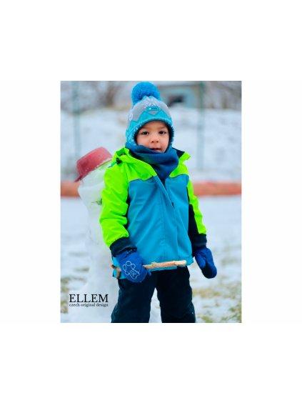 """alt=,,dětská zimní bunda neonově žlutá modrá a černá s černým zimním proševem uvnitř bundy s membránou proti průsaku vody"""""""