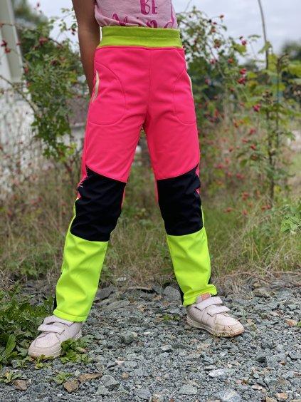 """Podzimní Softshellové kalhoty """"Agaron neon růžová"""" NÁPLET v pase"""