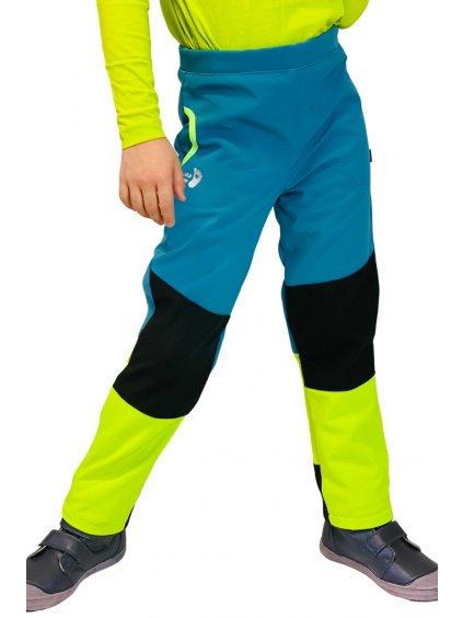 Softshellové sportovní kalhoty na hory pro kluka ve svítivě žluté