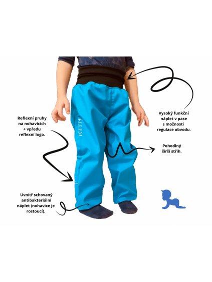 """alt=""""jarní softshellové kalhoty s popisky funkcí pro děti"""""""