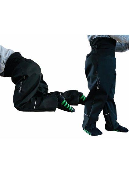 """Alt=""""batolecí žíhané černé softshellové kalhoty"""""""