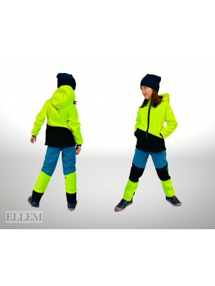 """alt=""""neonově žlutá bunda softshellová v soupravě s kalhoty pro dítě"""""""