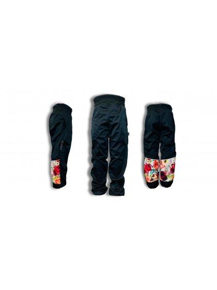 """Alt=""""jarní dívčí kalhoty černé s nápletem v pase"""""""