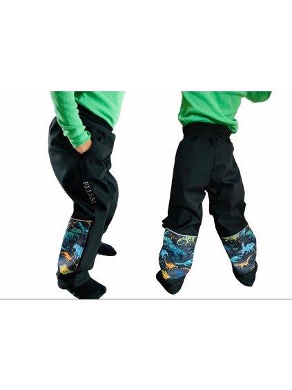 """Alt=""""jarní softshellové kalhoty chlapecké v černé barvě s dinosaury"""""""