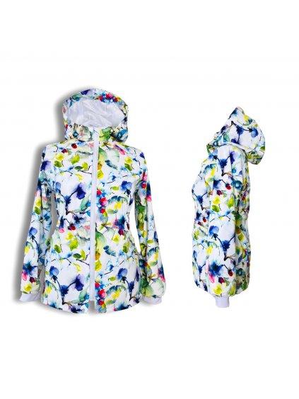 """alt=""""dívčí jarní kabát parka softshellový akvarelový šípek na bílém pozadí"""""""