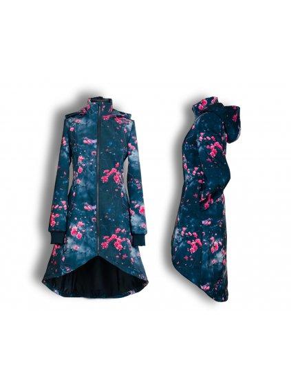 """alt=""""Dámský kabát Cherie luxusní černý s ledovými květy (1)"""""""