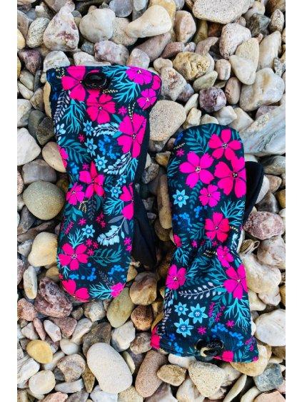 Dívčí softshellové rukavice s růžovými kvítky
