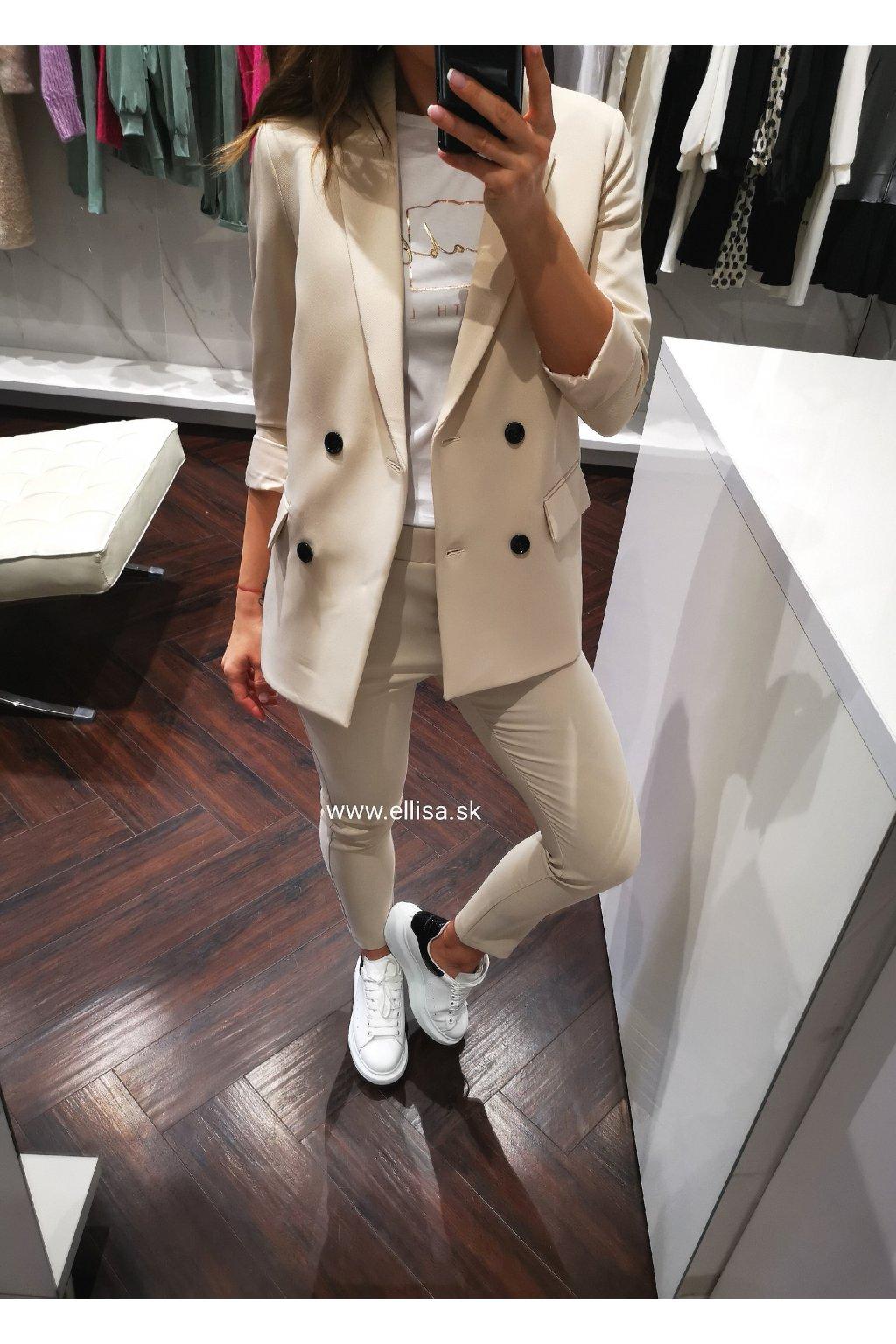 Nohavice na gumu beige light