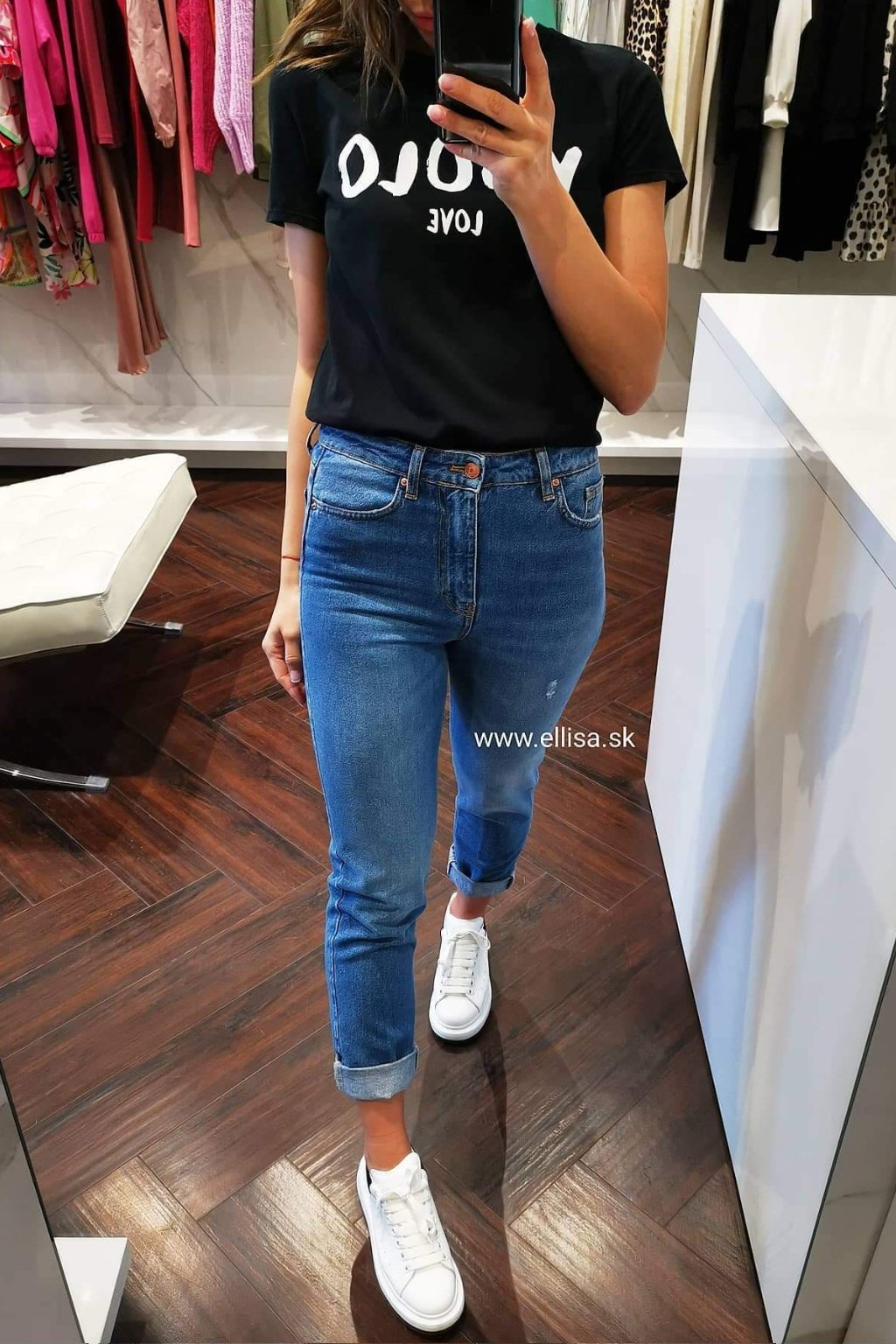 Rifle mom fit blue