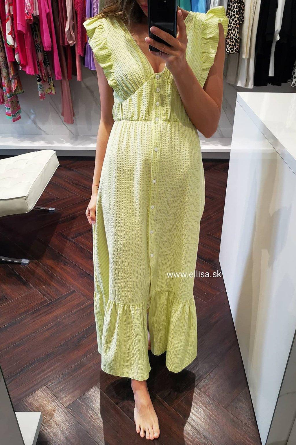 Maxi šaty s volánom lime