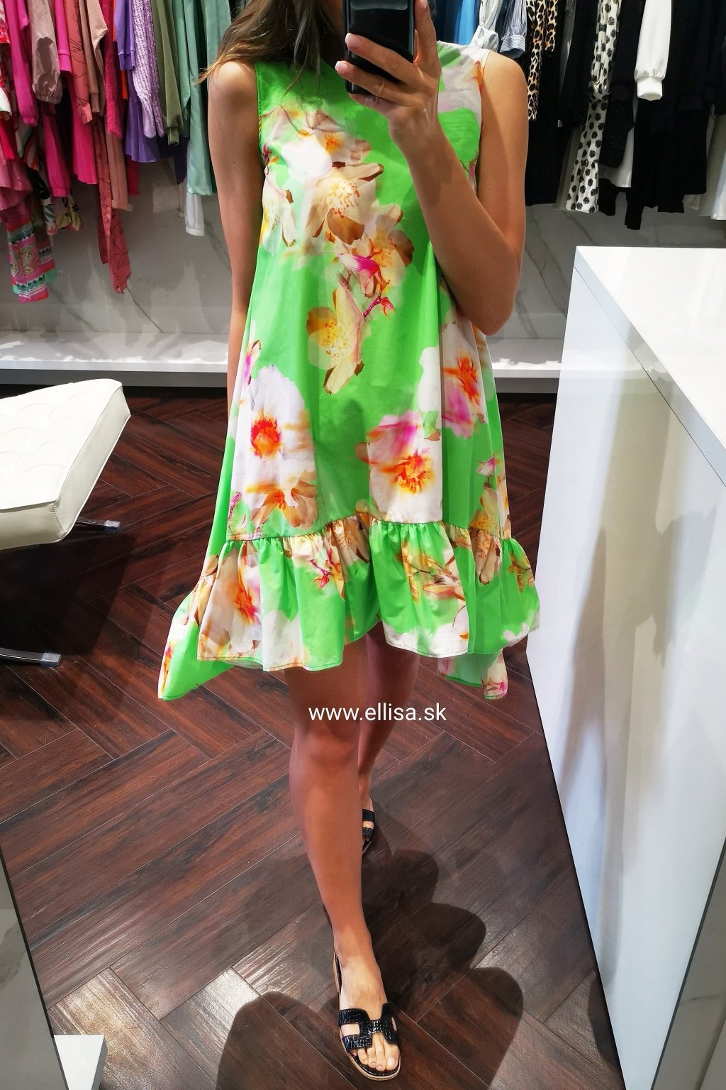Šaty s volánom green flowers