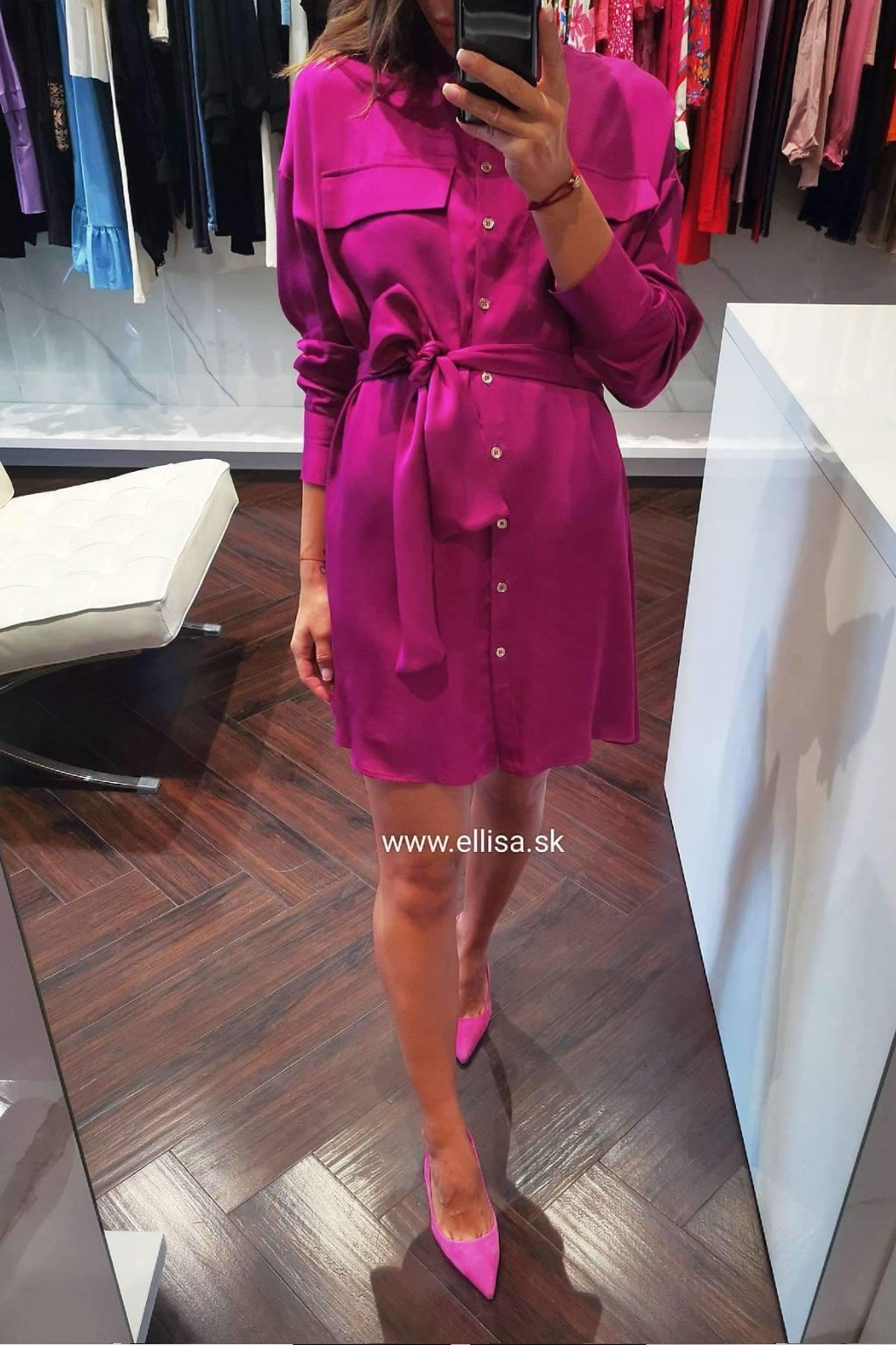 Košeľové šaty fuxia/lila