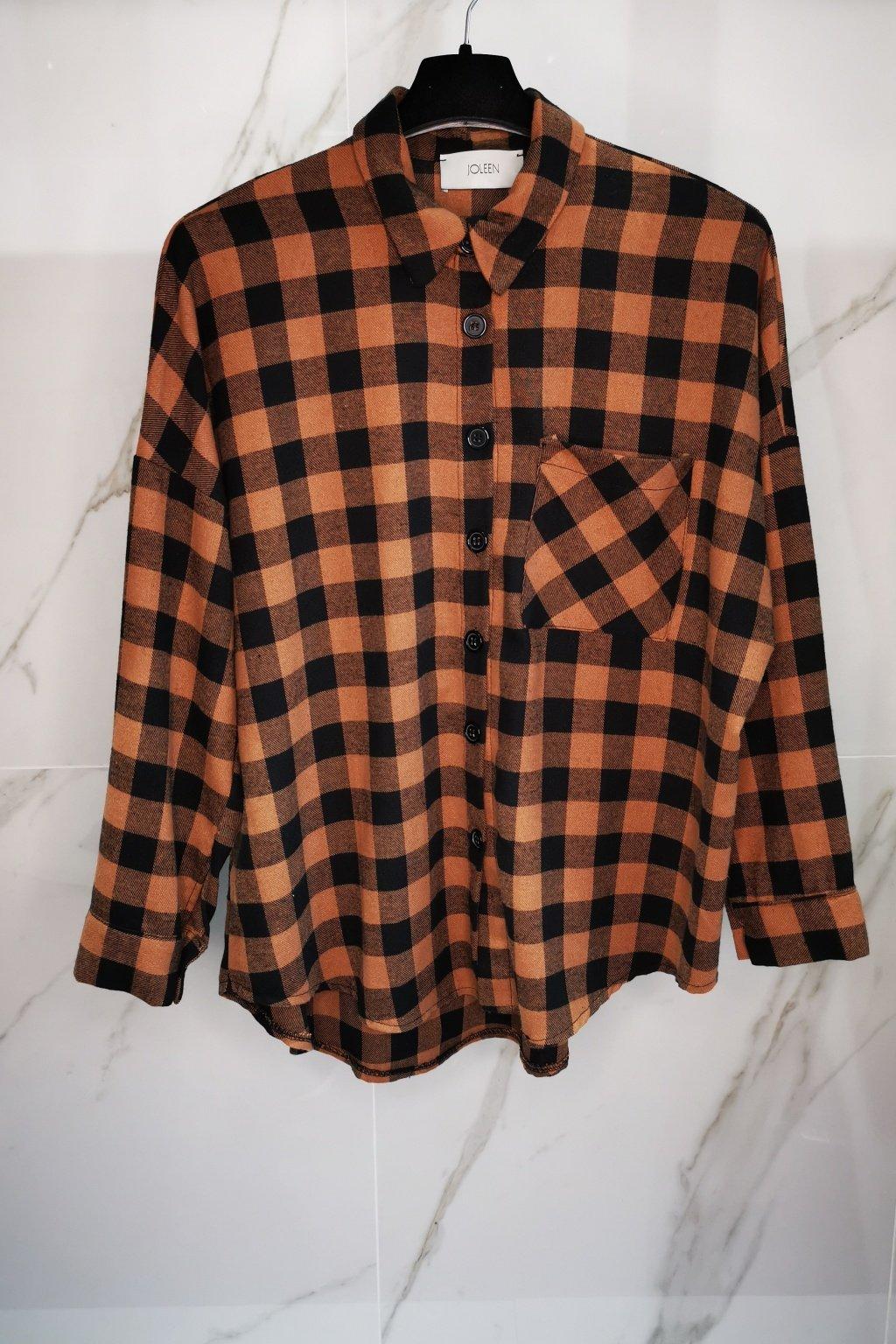 Károvaná košeľa hnedá UNI