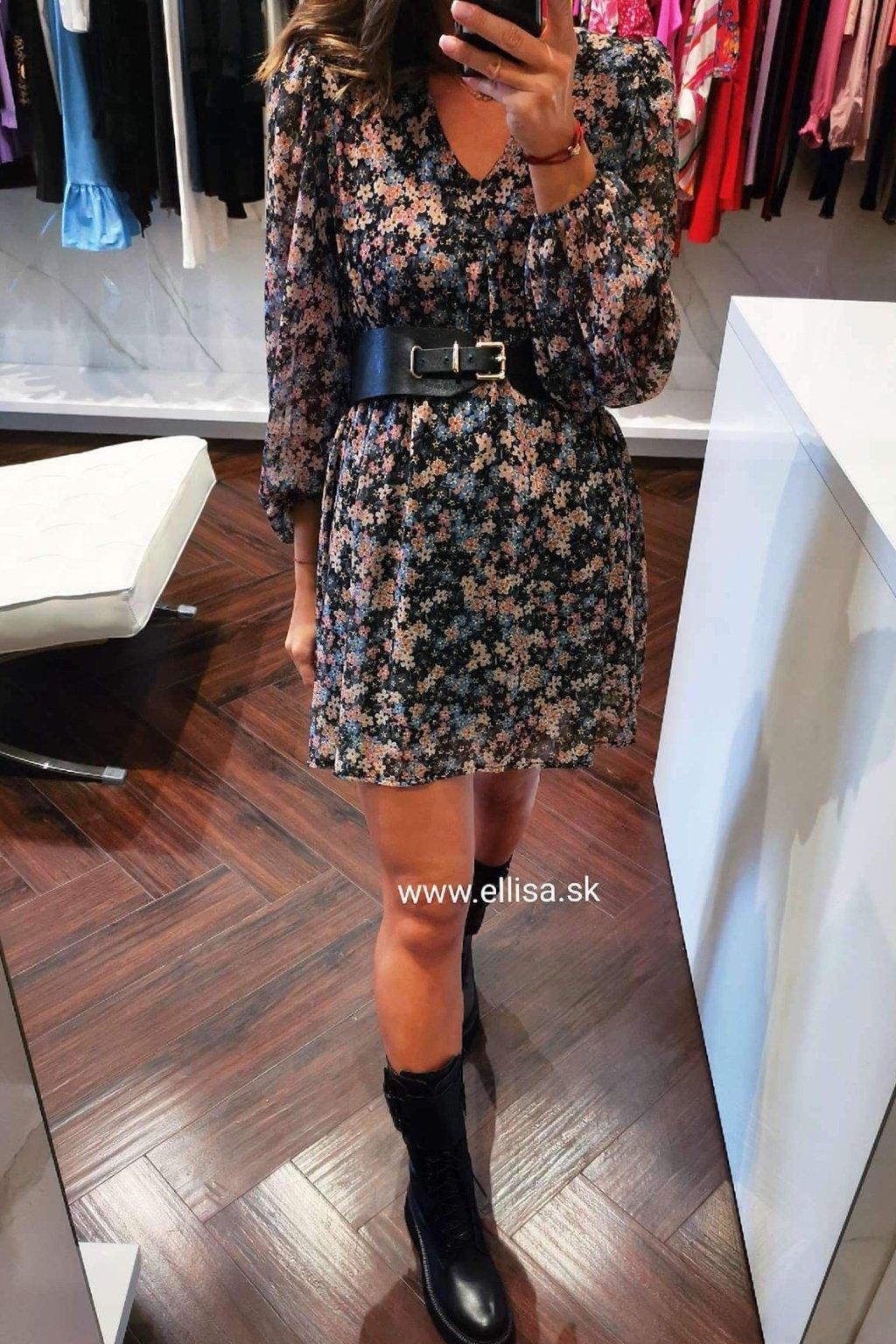 Kvetinové šaty čierne UNI