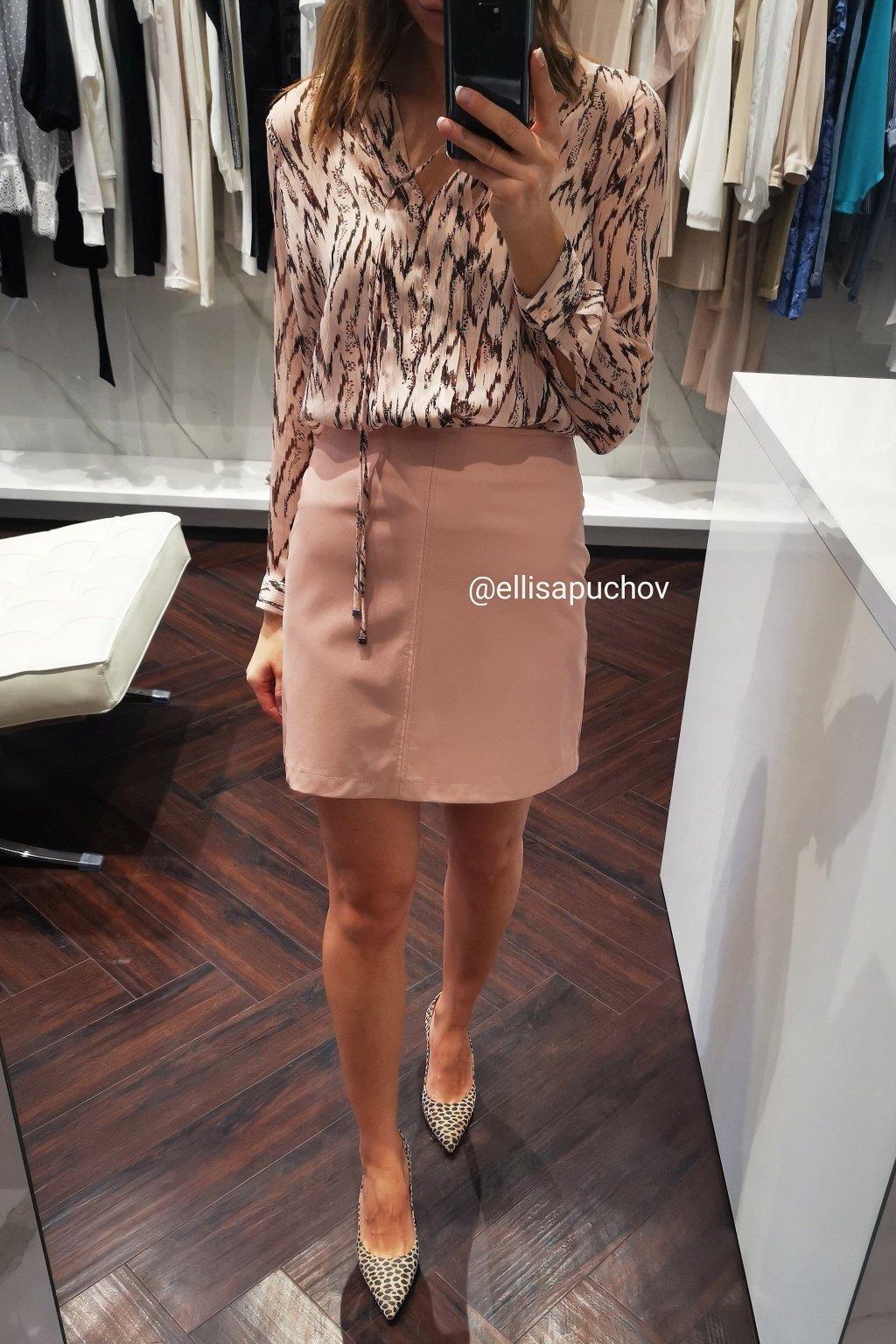 Koženková sukňa pink