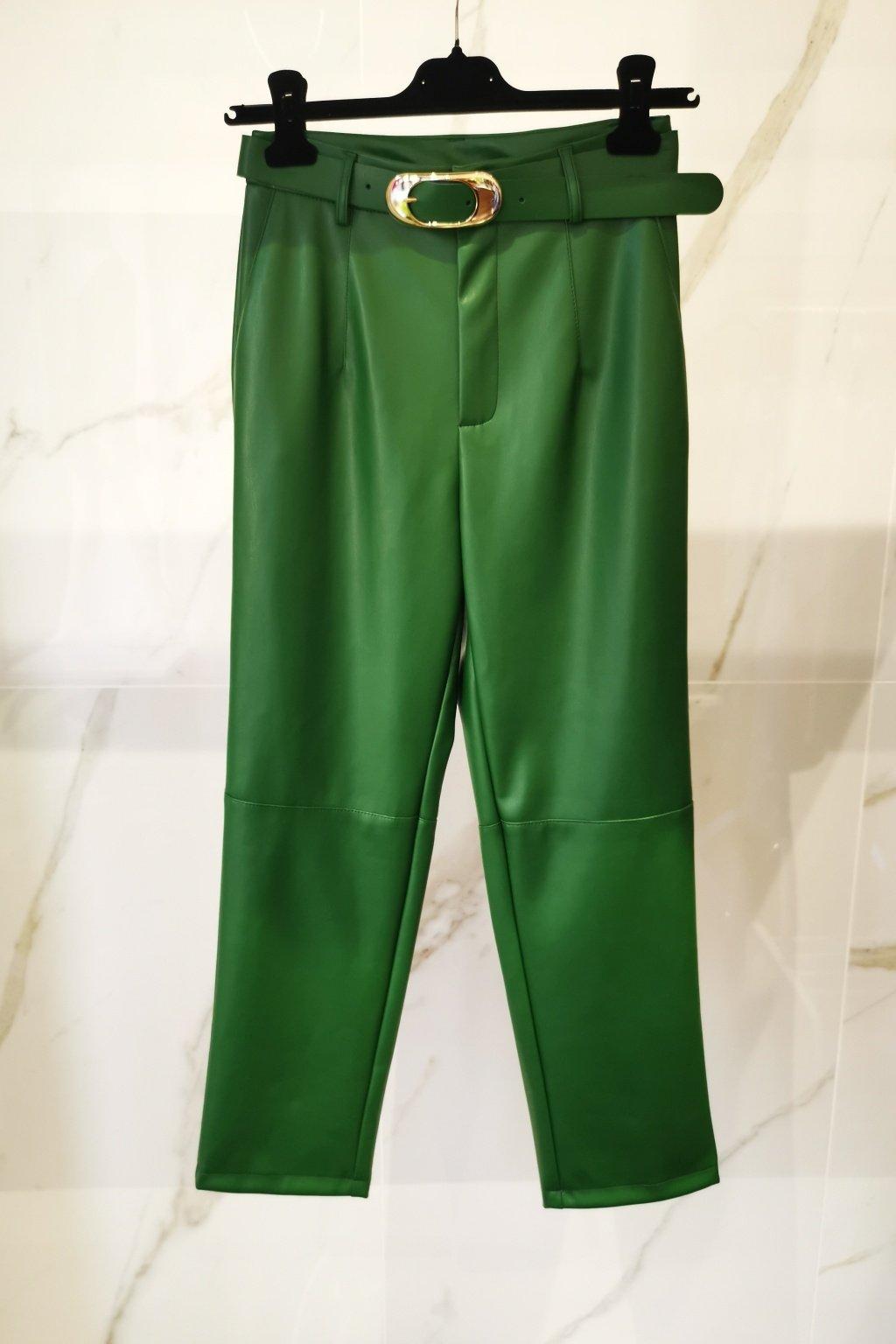 Koženkové nohavice dlhé zelené