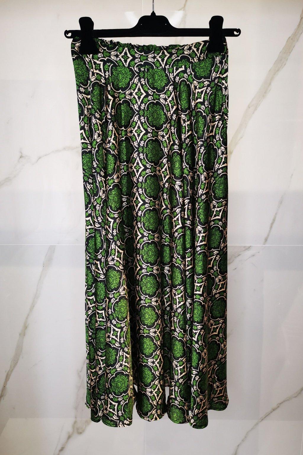 Saténová sukňa zelená