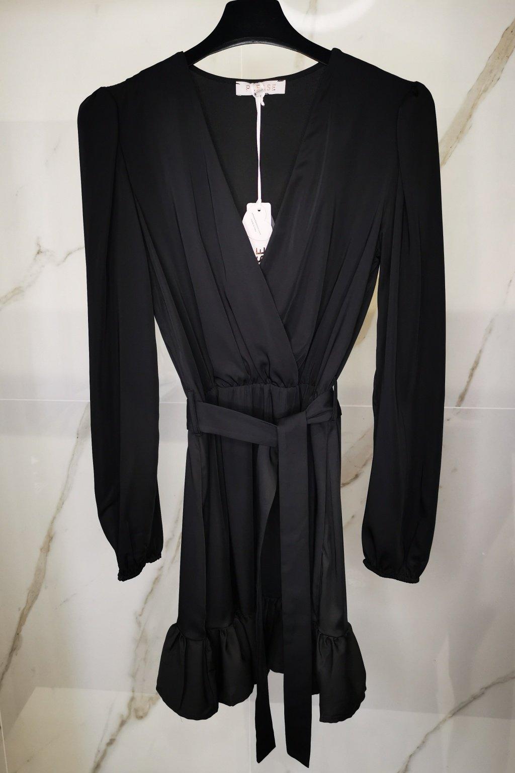 Saténové šaty čierne