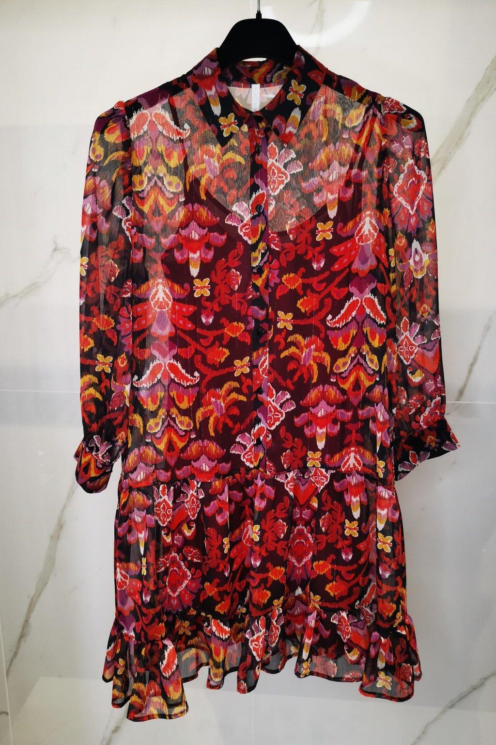 Kvetované šaty červené
