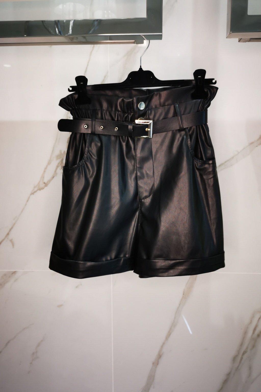 Koženkové nohavice krátke čierne