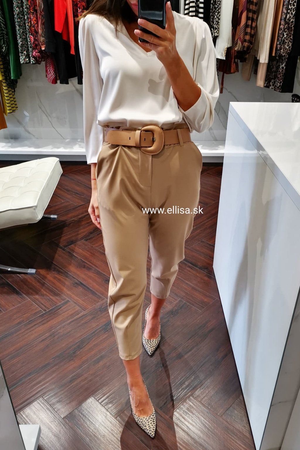 Nohavice s vyšším pásom hnedé