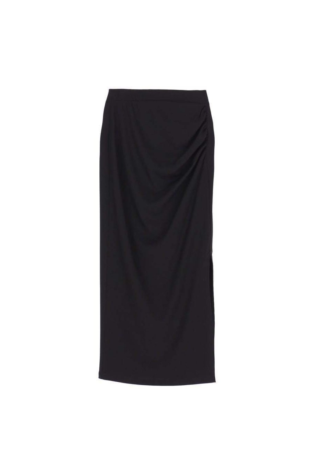 Midi sukňa s vyšším pásom čierna