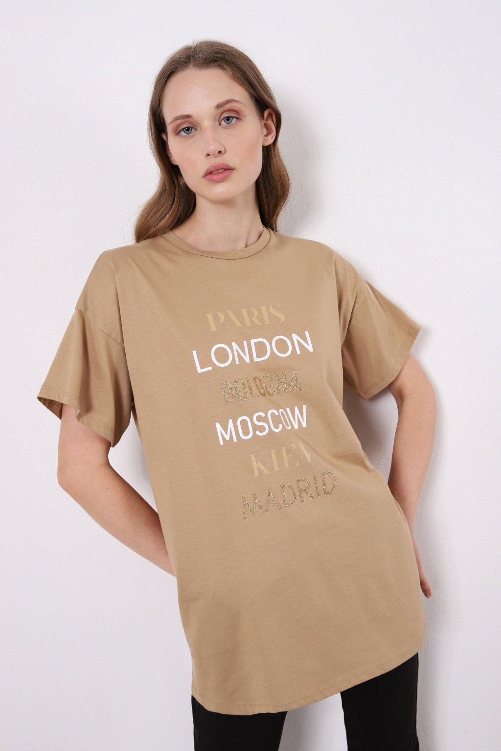 Krátke tričko bledo hnedé