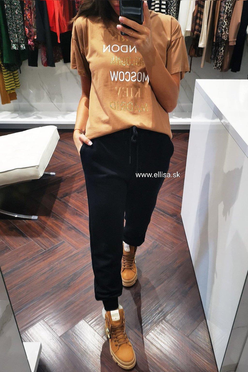 Krátke tričko tmavo hnedé