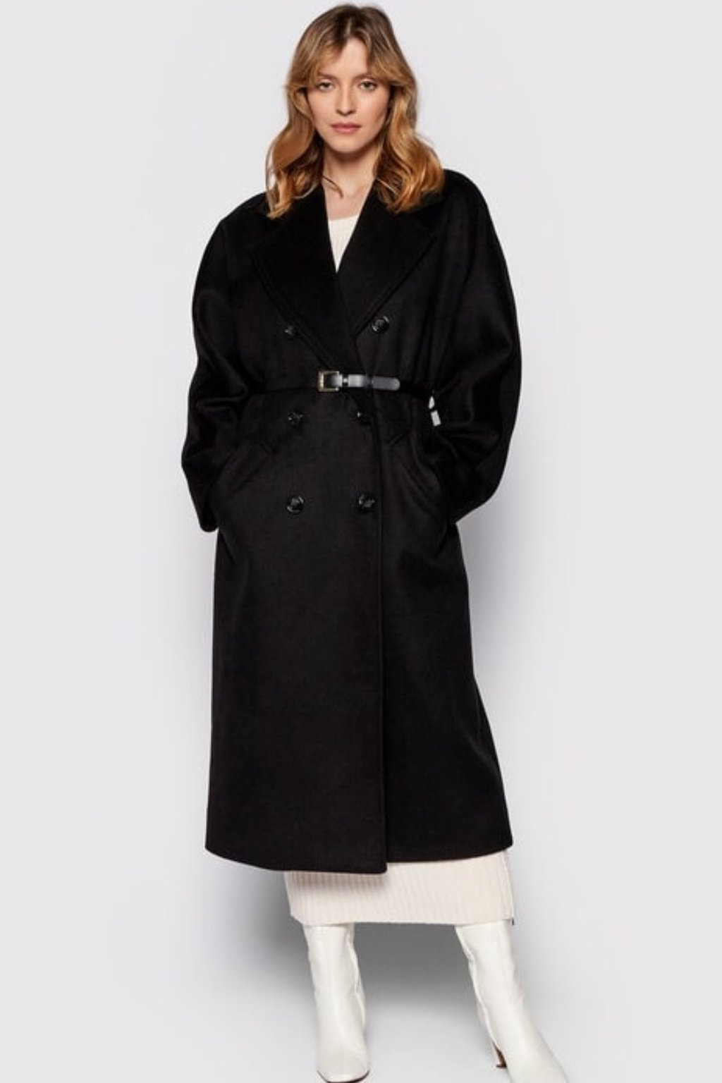 Kabát s opaskom čierny