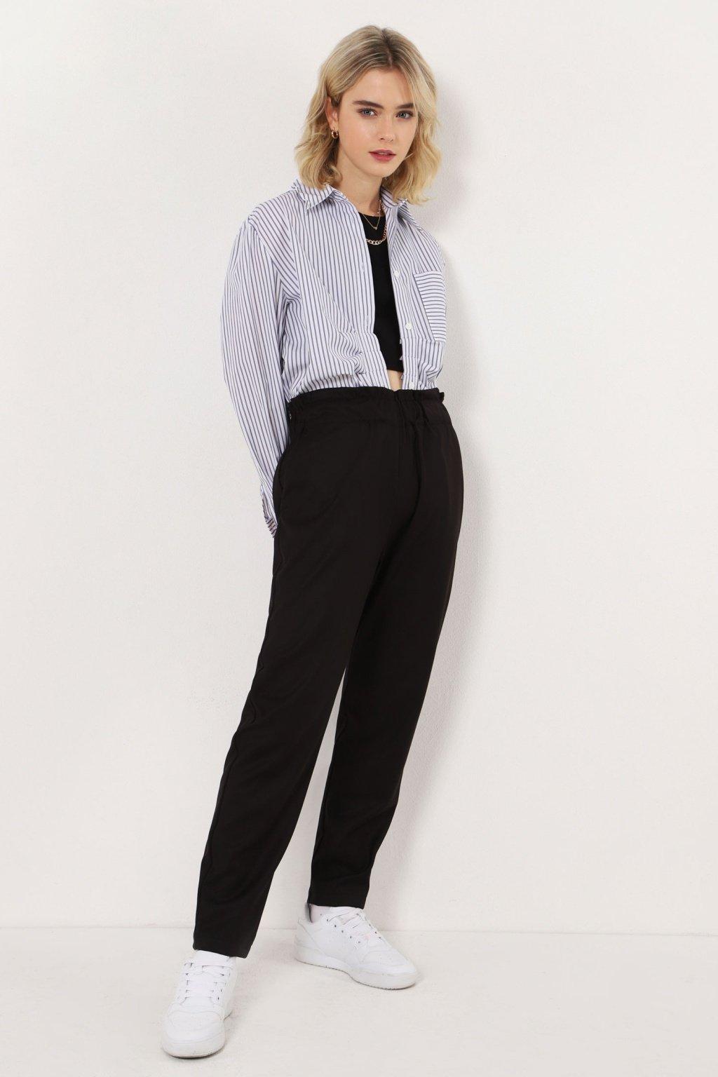 Nohavice s elastickým pásom čierne