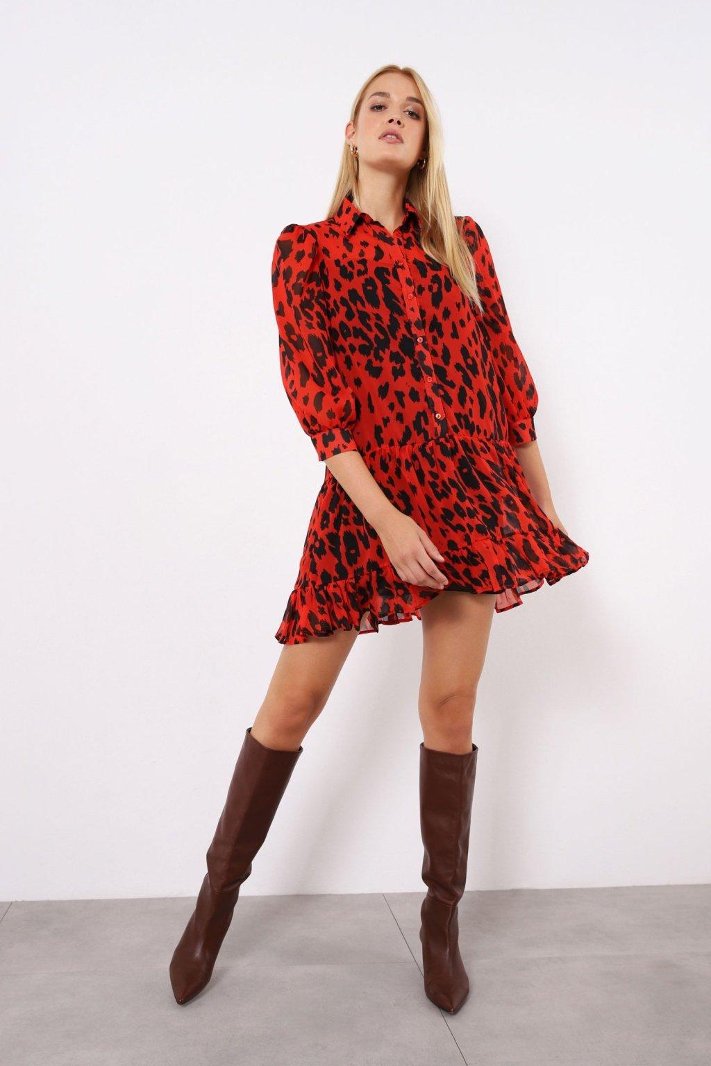 Šaty s volánom animal red