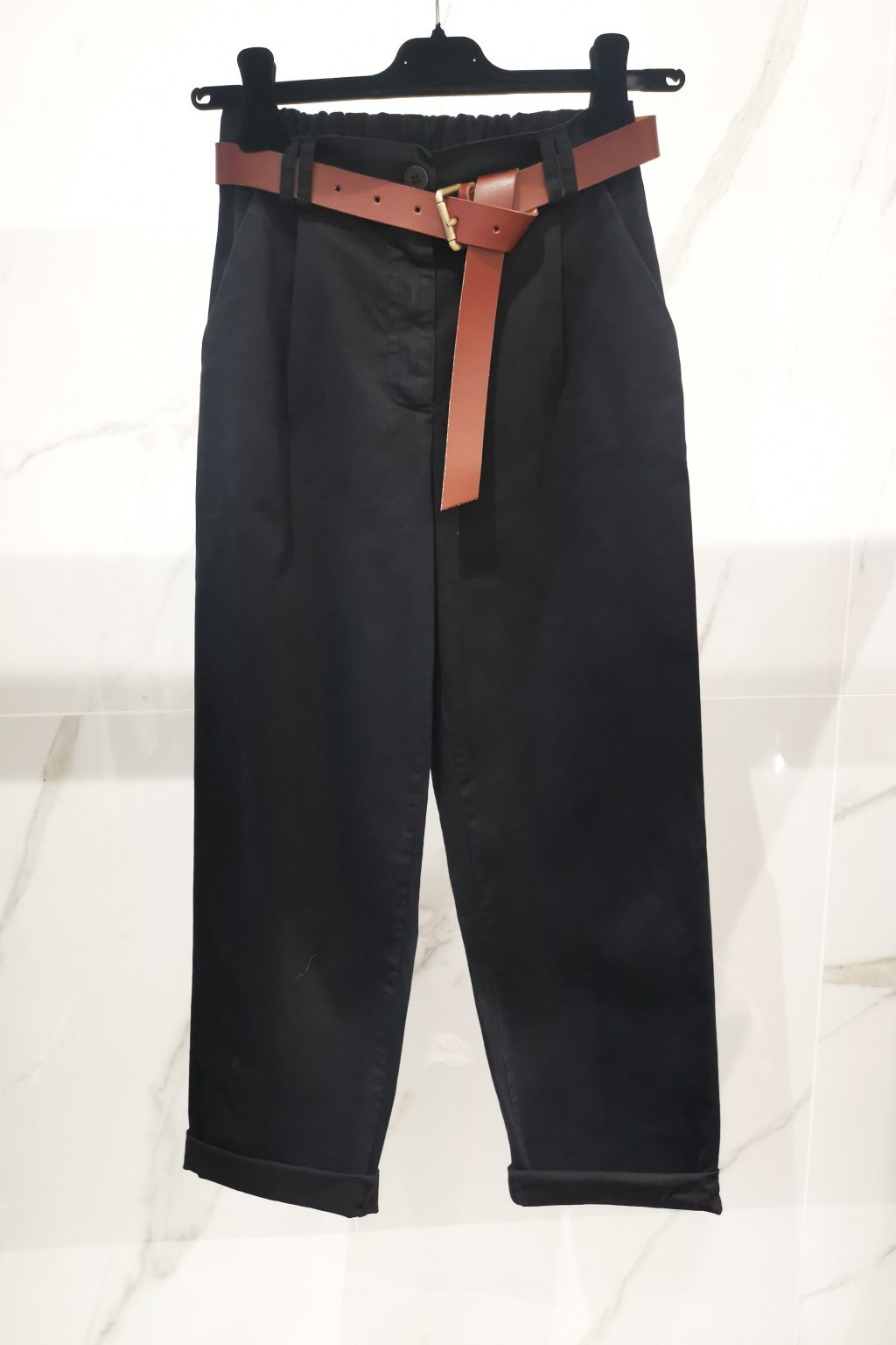 Nohavice s opaskom čierne