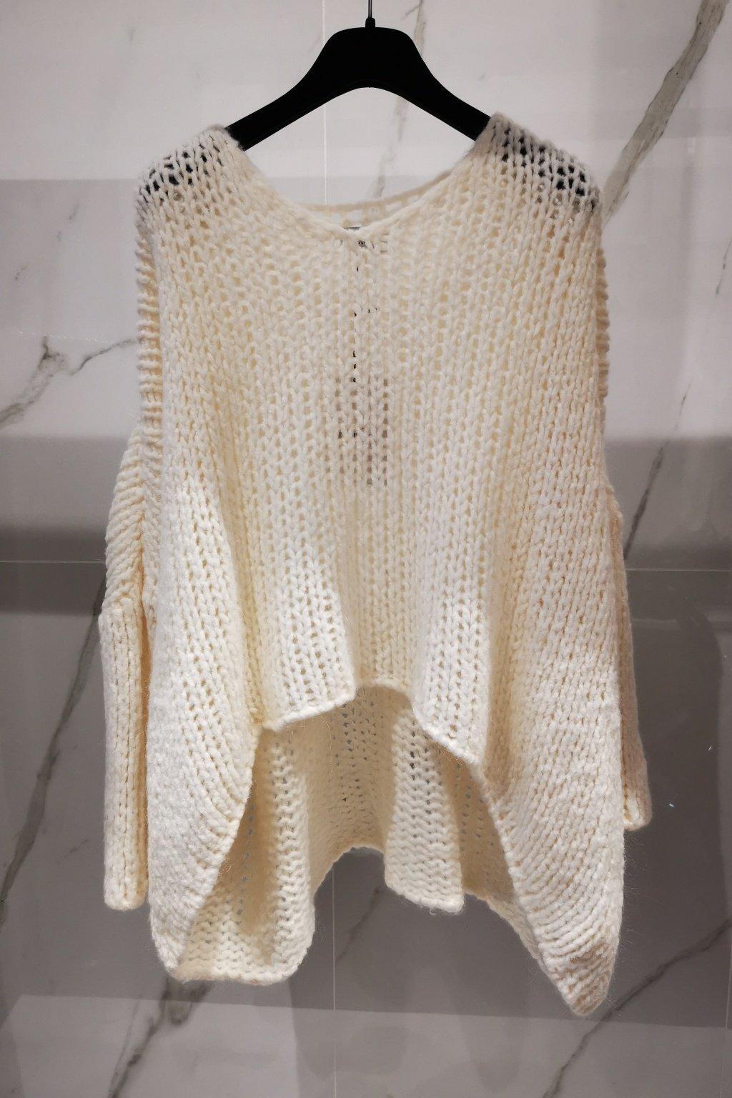 Oversize sveter biely UNI