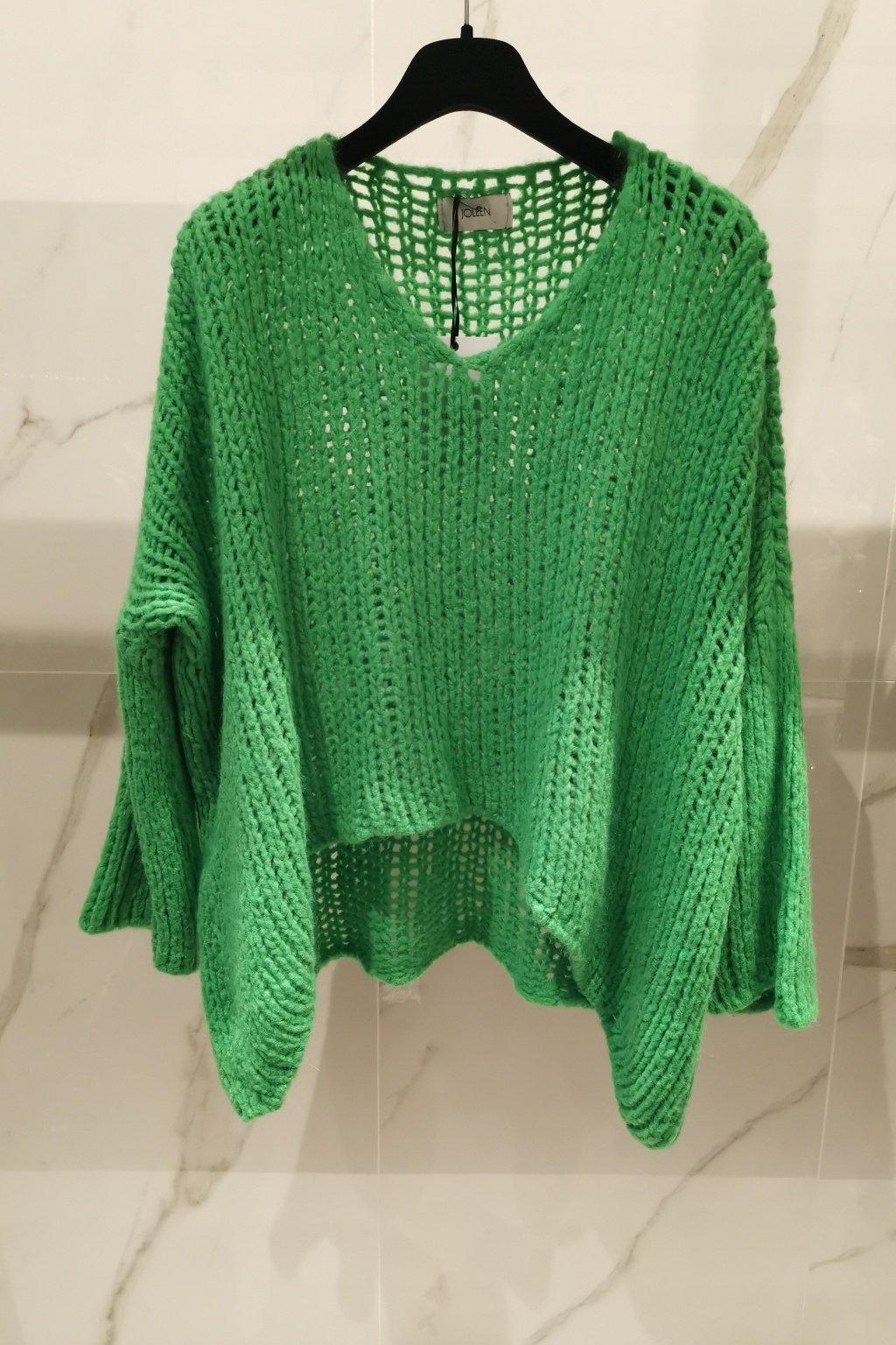 Oversize sveter zelený UNI