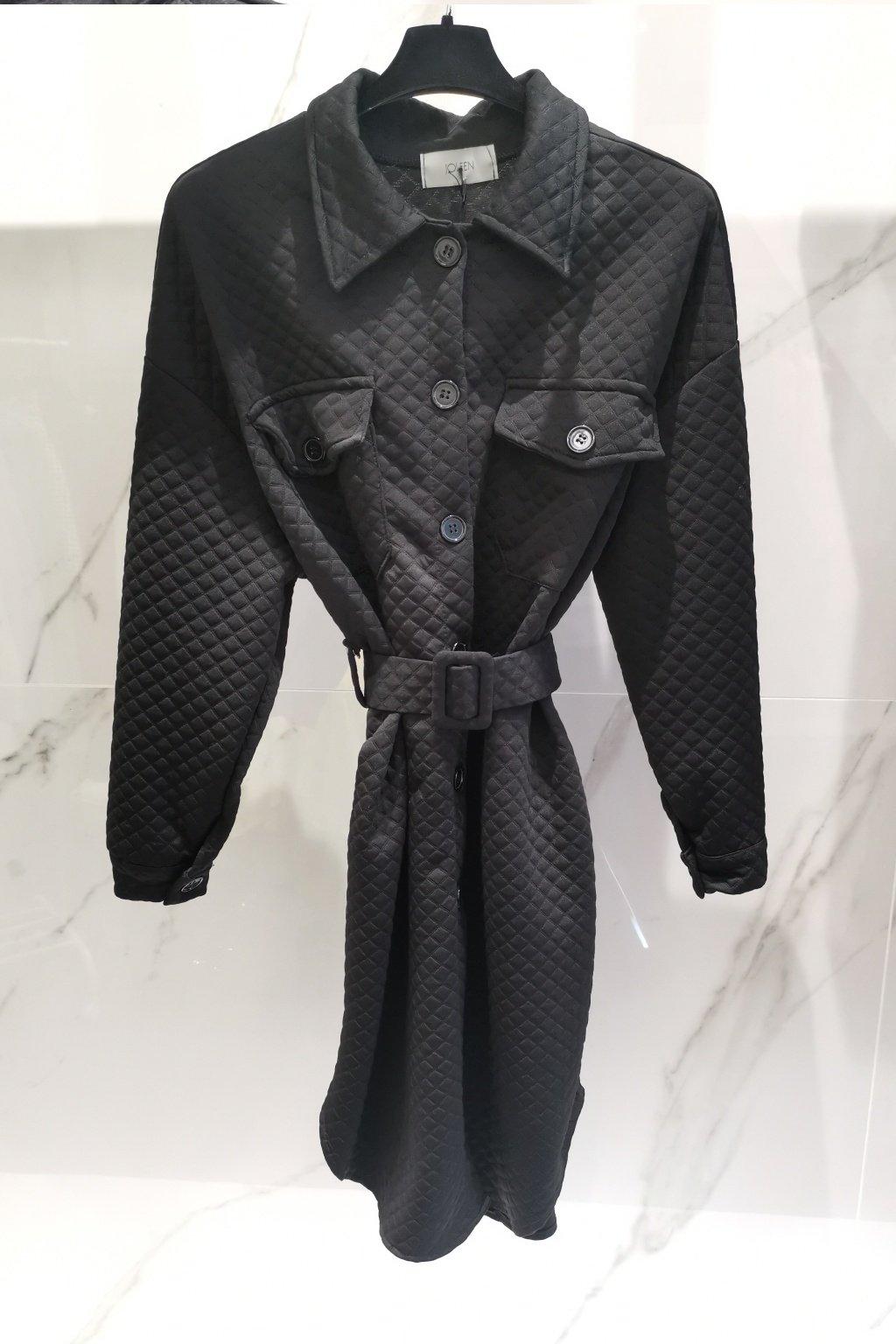 Wafle šaty s opaskom čierne UNI