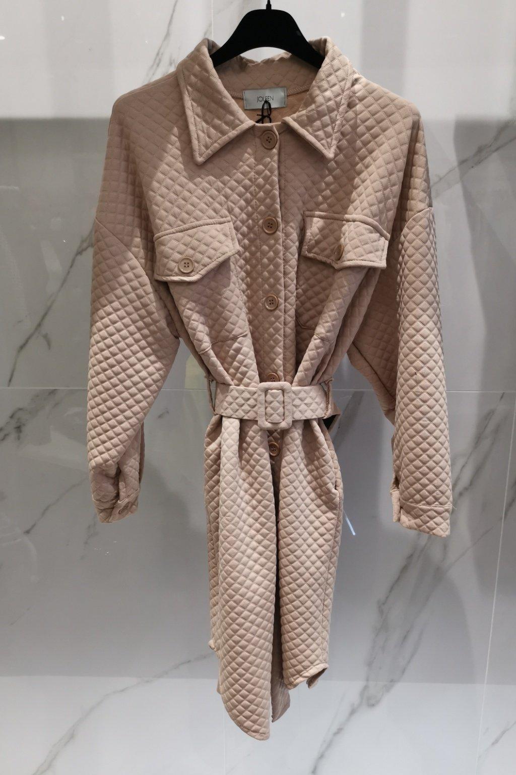 Wafle šaty s opaskom béžové UNI