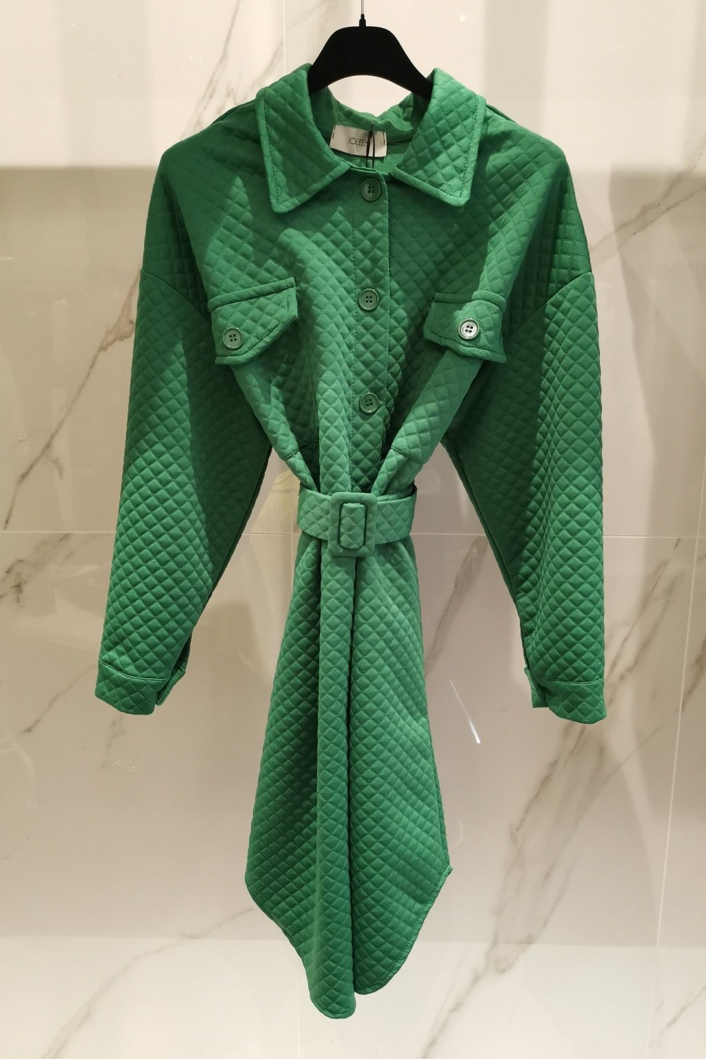 Wafle šaty s opaskom zelené UNI