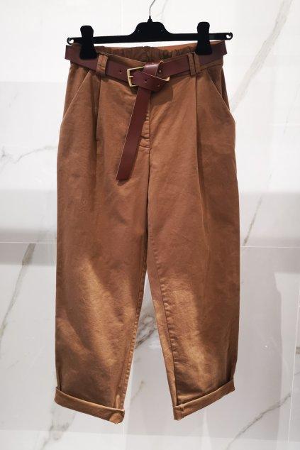 Nohavice s opaskom hnedé