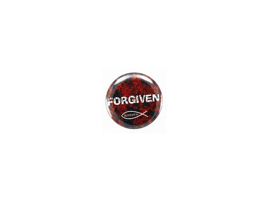 Placka-25mm,špendlík-- Forgiven-ryba